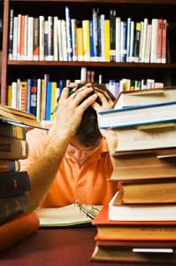 A dyslexic student struggling to study